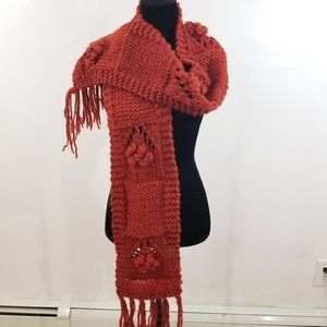 Knit Scarf with Flower Detailing and Tassels